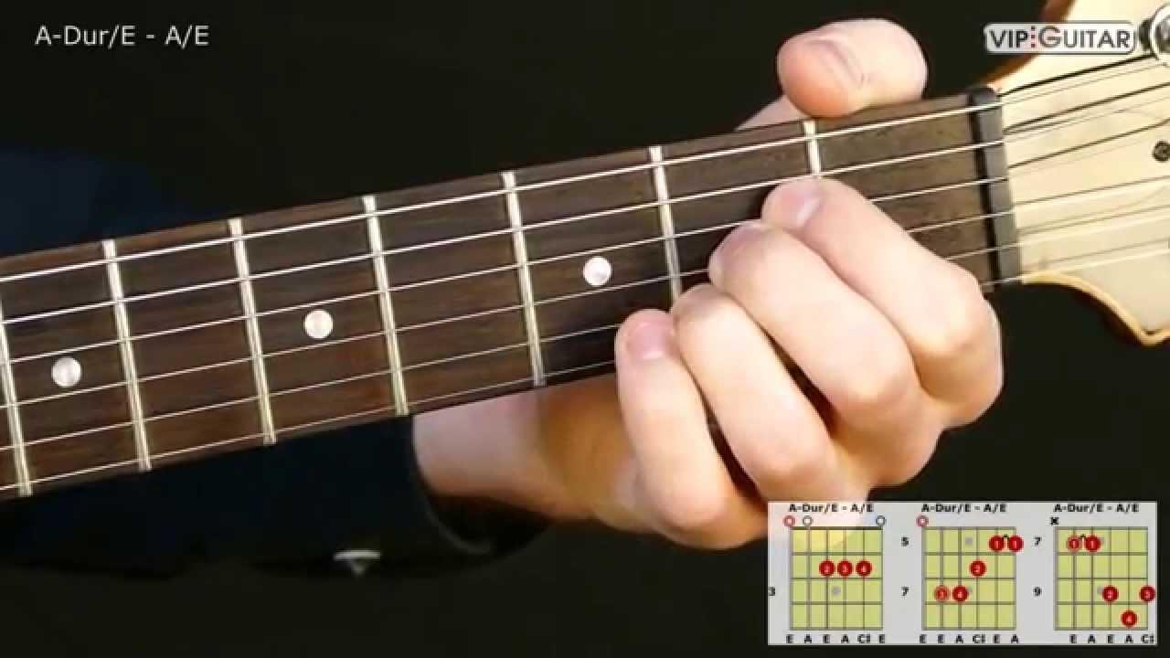 Gitarrenakkorde A Dur/E   A/E chord