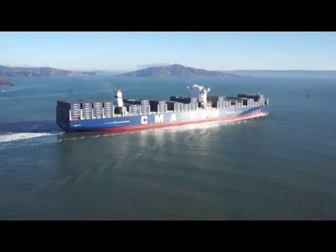CMA CGM Benjamin Franklin - U.S.A. Largest Container Ship Ever - San Francisco Golden Gate Bridge
