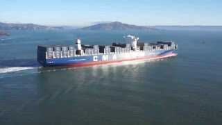 CMA CGM Benjamin Franklin - U.S.A. Largest Container Ship Ever - San Francisco Golden Gate Bridge