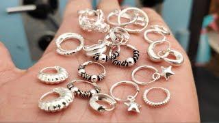Latest light weight Silver earrings designs   Silver Bali, chandbali, silver bali hoop earrings