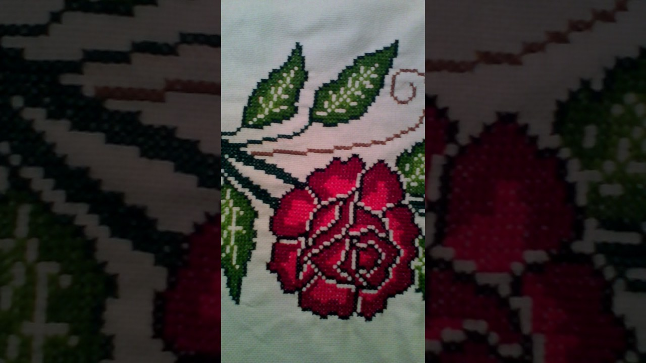 Mantel De Rosas Bordado En Punto De Cruz De 3 5mtros Youtube