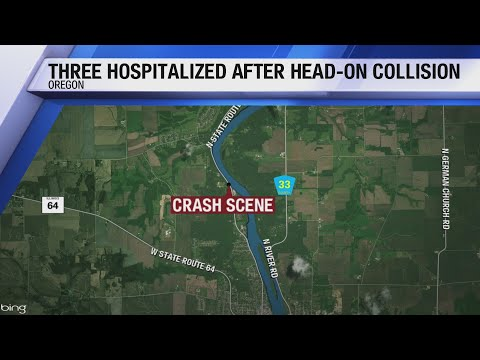Three sent to hospital after head-on collision on Rt. 2 near Byron