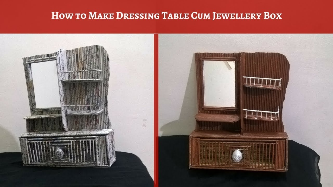 How To Make DIY Dressing Table At Home | Jewellery Box With Paper  (Newspaper Craft)