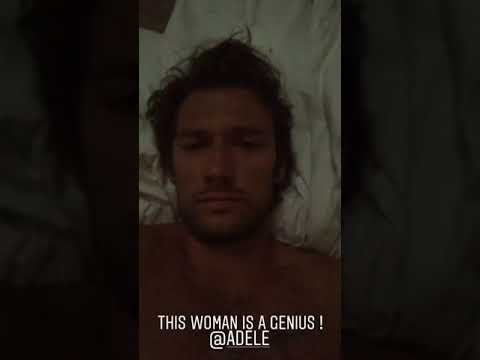 Alex Pettyfer listening to Adele in bed