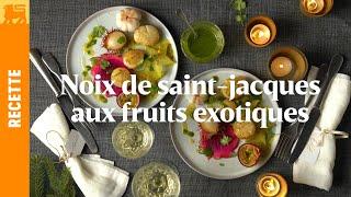 Noix de Saint-Jacques aux fruits exotiques et a la vanille