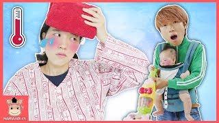 국민이 끼야 엄마 아파요! 콩순이 청소기 빵가게 장난감으로 도와줘요♡ 엄마놀이 주방놀이 병원 의사 장난감 놀이 Pretend Play Toy | 말이야와아이들 MariAndKids