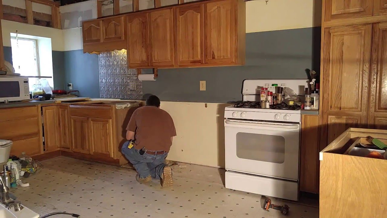 Old farm house kitchen cabinet move for remodel youtube for How to redo your kitchen