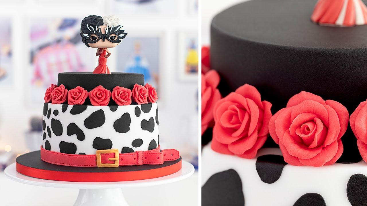 Disney - CRUELLA de Vil CAKE - Small fondant ROSES - Tan dulce
