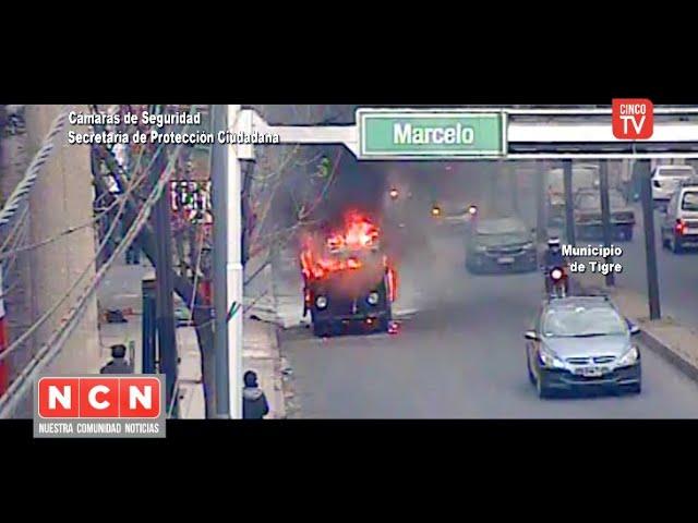CINCO TV - El Sistema de Protección Ciudadana controló un peligroso incendio vehicular