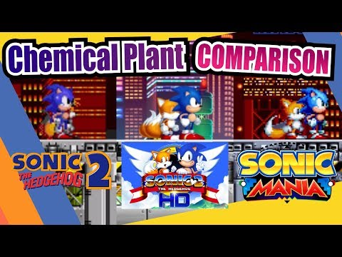 Sonic Mania, Sonic 2 and Sonic 2 HD (Chemical Plant Zone) Side by Side Comparison