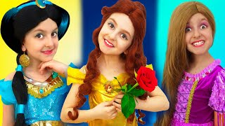 Disney Princesses Costumes & Kids Makeup from Super Elsa , Pretend Play with Real Princess Dresses