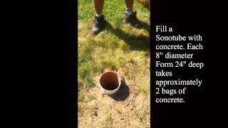 How To Pour Concrete Footings For A Cedar Pergola Video