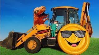 Динозавр погрыз колесо. Лёва помогает починить сломанный трактор Папе