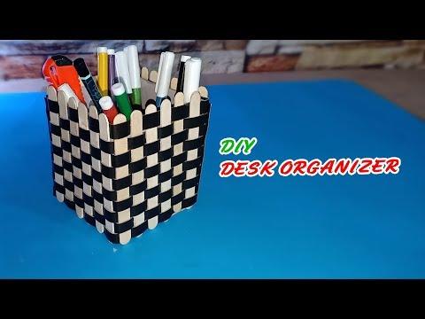 DIY Pen Holder With Icecream Sticks | DIY Desk Organizer With Icecream Sticks