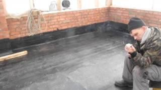115-07 - Монтаж бикроста на бетонный пол кровля(Поэтапный видеоотчет хода строительства объекта №115. Проект