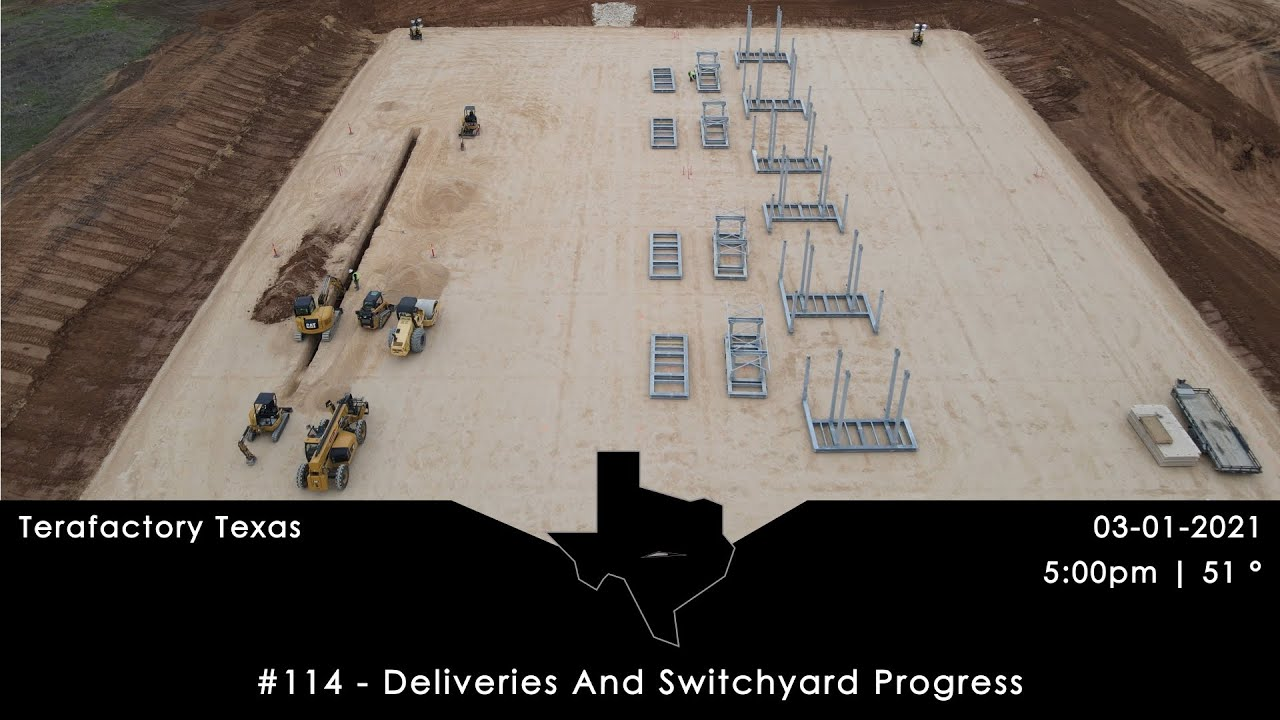 Tesla Terafactory Texas Update #114: Deliveries And Switchyard Progress - 03/01/21 (5:00pm | 51°F)