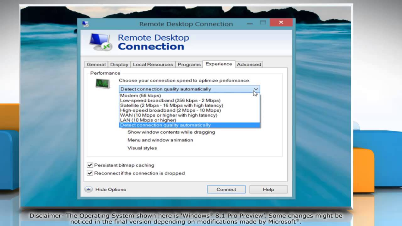 Speed Up Remote Desktop Connections in Windows® 8 1