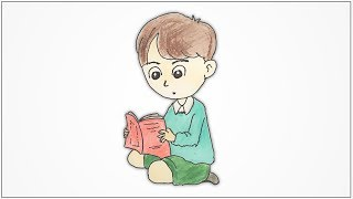 How to draw a boy sitting and reading a book step by step