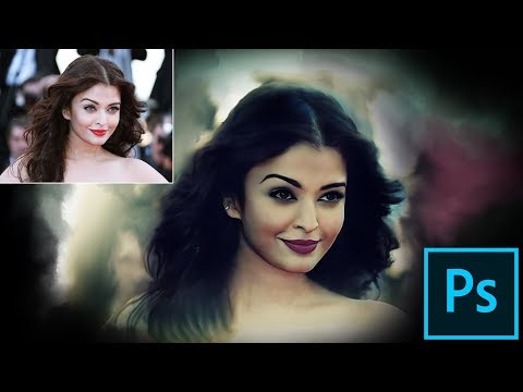 Watercolor Painting Photoshop Tutorial || Aiswarya Rai Painting || New Photoshop thumbnail