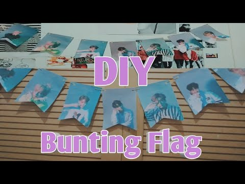HOW MAKE KPOP BUNTING FLAG?DIY KPOP BUNTING FLAG/BANNER PARTY. bts edition.