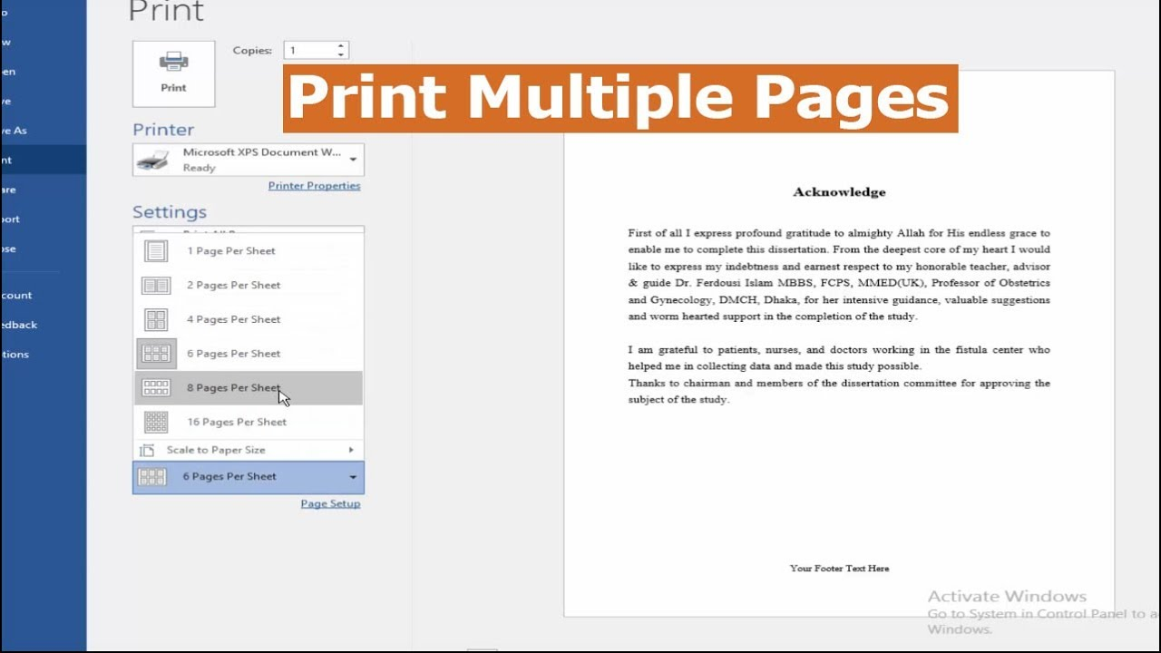 How To Print A Multiple Pages On One Page In Microsoft