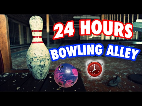 (SKULL!) 24 HOUR OVERNIGHT ABANDONED BOWLING ALLEY FORT ⏰ OVERNIGHT CHALLENGE HAUNTED BOWLING ALLEY