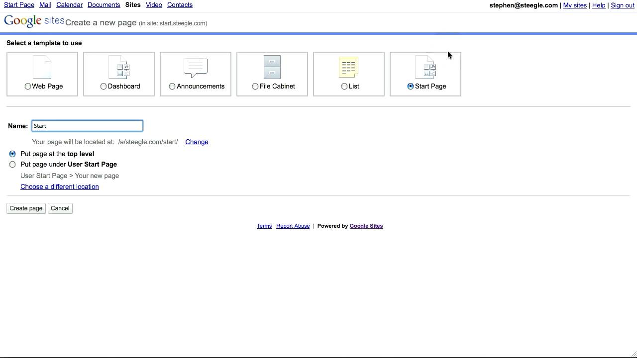 Google Sites Start Page Template S Premier Edition