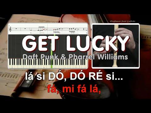 Get Lucky - Com Voz Guia - Daft Punk & Pharrel Williams - Karaoke das notas para flauta