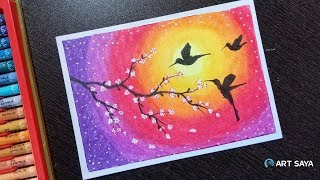 Learn to Draw Beautiful Flying Birds Scenery Drawing with Oil pastel - step by step