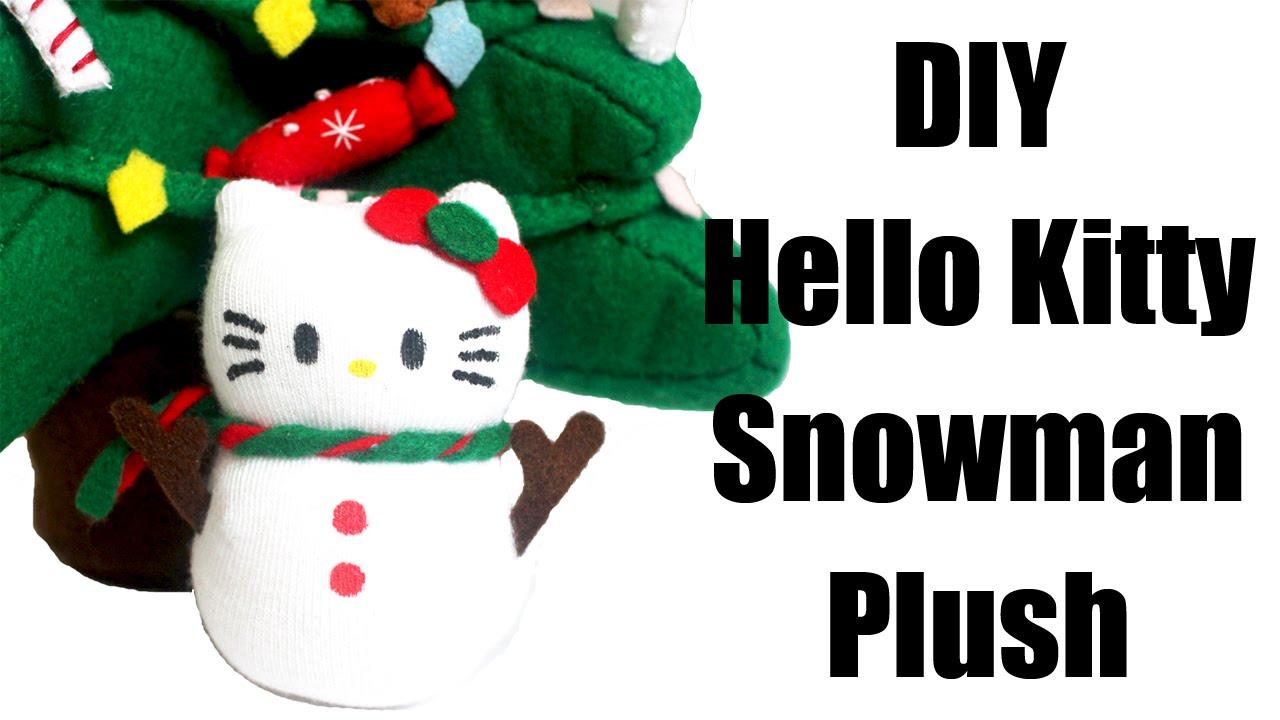 Hello Kitty Snowman Sock Plush Tutorial - How To - YouTube