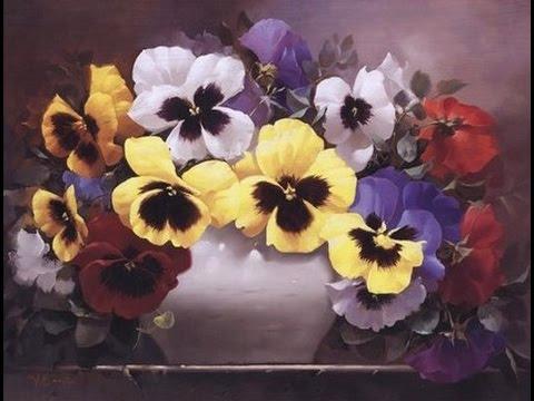 мастер класс по живописи  как нарисовать цветы анютины глазки