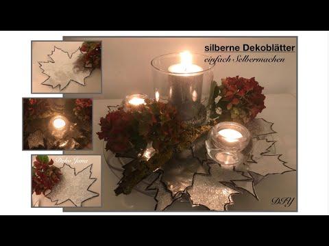 DIY: Silber funkelnde Dekoblätter einfach Selbermachen, herbstliche Wohn.- und Deko Idee / Deko Jana