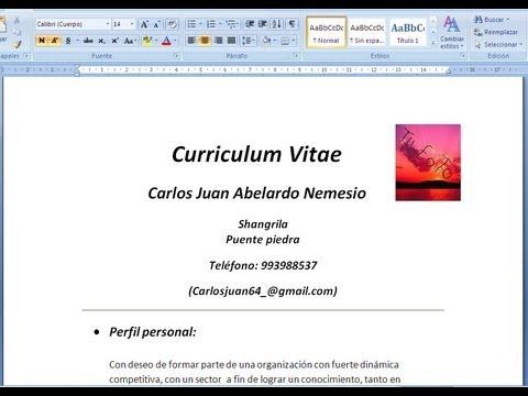 Como Hacer Un Curriculum Vitae Facil Y Rapido En 5 Minutos En Word