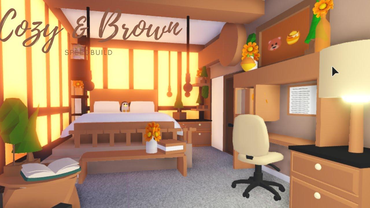 Cozy Brown Bedroom Speedbuild Adopt Me Roblox Youtube