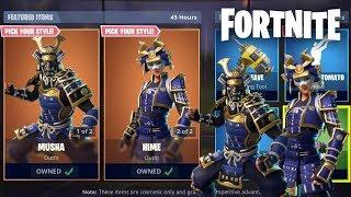 NEW MUSHA + HIME SKINS IN FORTNITE - ITEM SHOP UPDATE! (Fortnite Gameplay)
