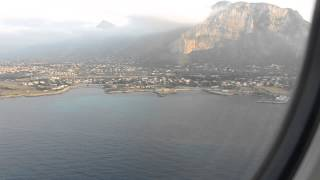 Ryanair flight landing in Palermo Punta Raisi airport runway 25