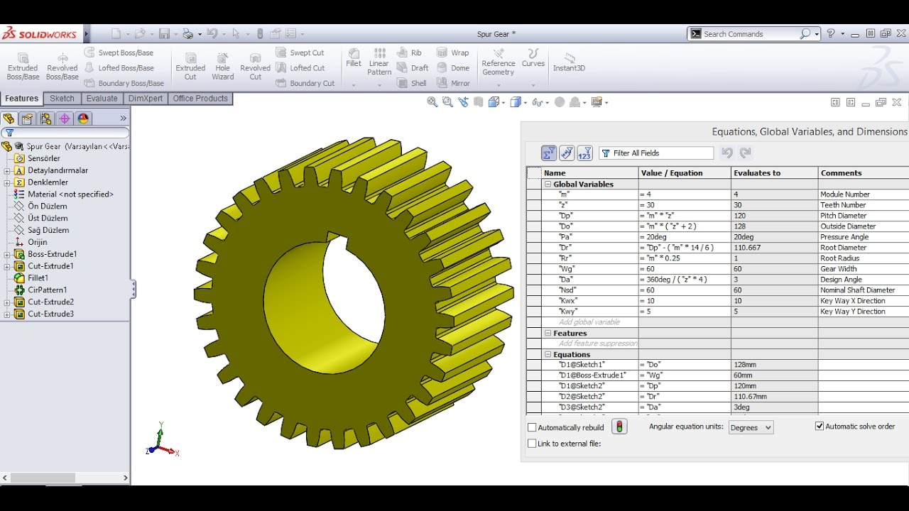 Spur Gear Drawing with Equations in SolidWorks
