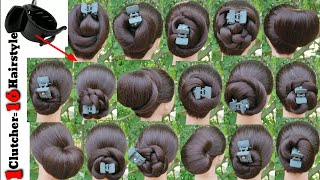 16 Very Easy Hairstyle With Only 1 Clutcher || Everyday Girls Hairstyle || Simple Bun Hairstyle ||