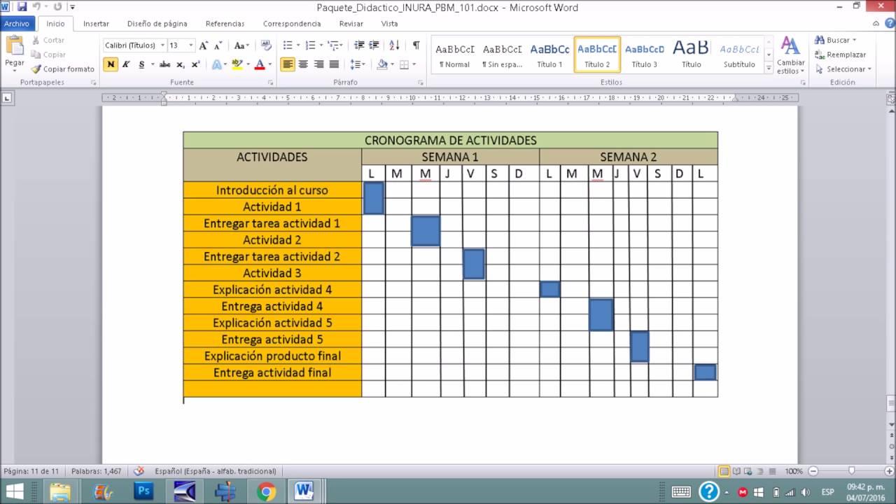 formato cronograma de actividades excel intoanysearchco
