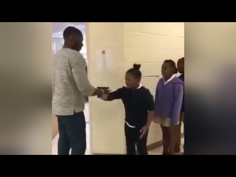5th Grade Teacher Performs Different Handshake With Every Student