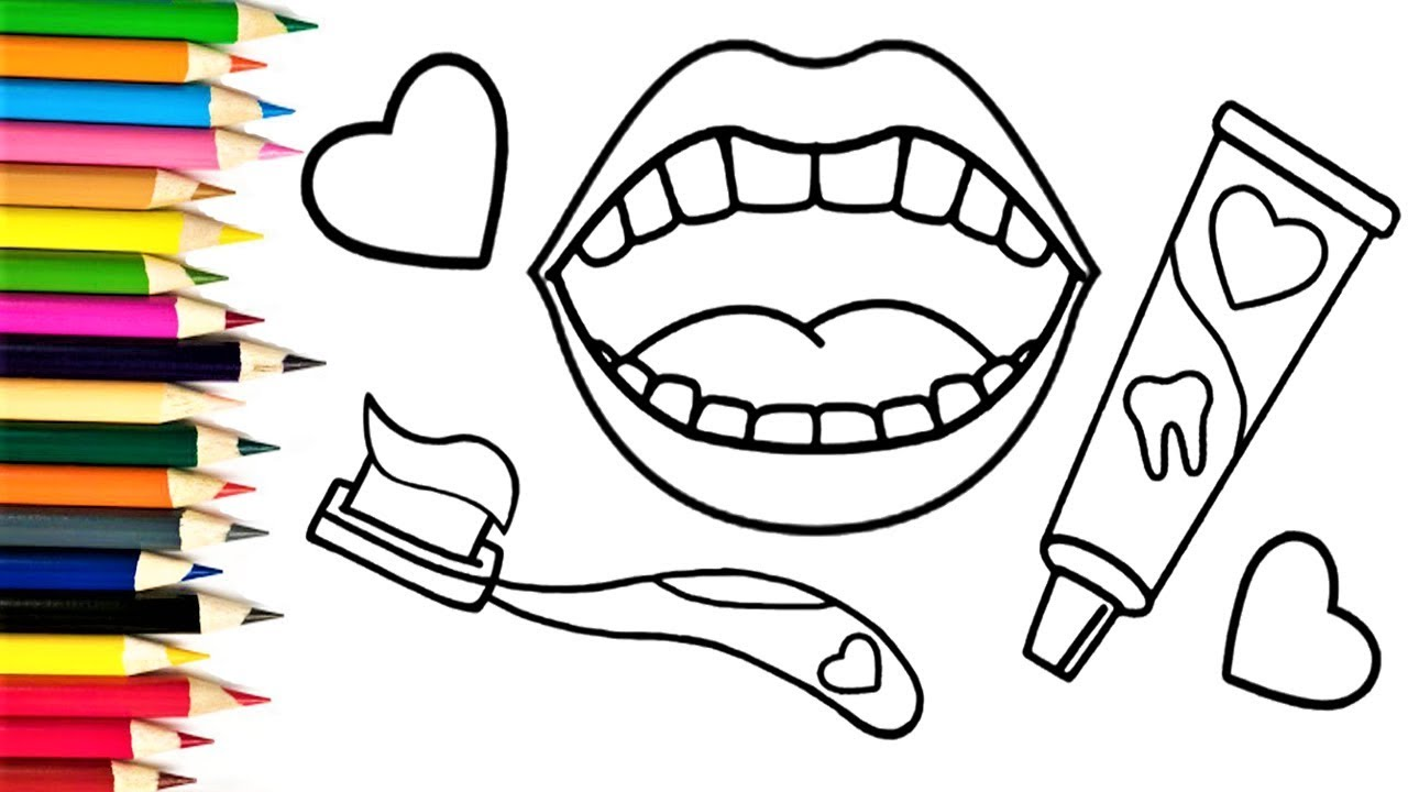 how to draw toothpaste toothbrush and teeth children u0027s coloring