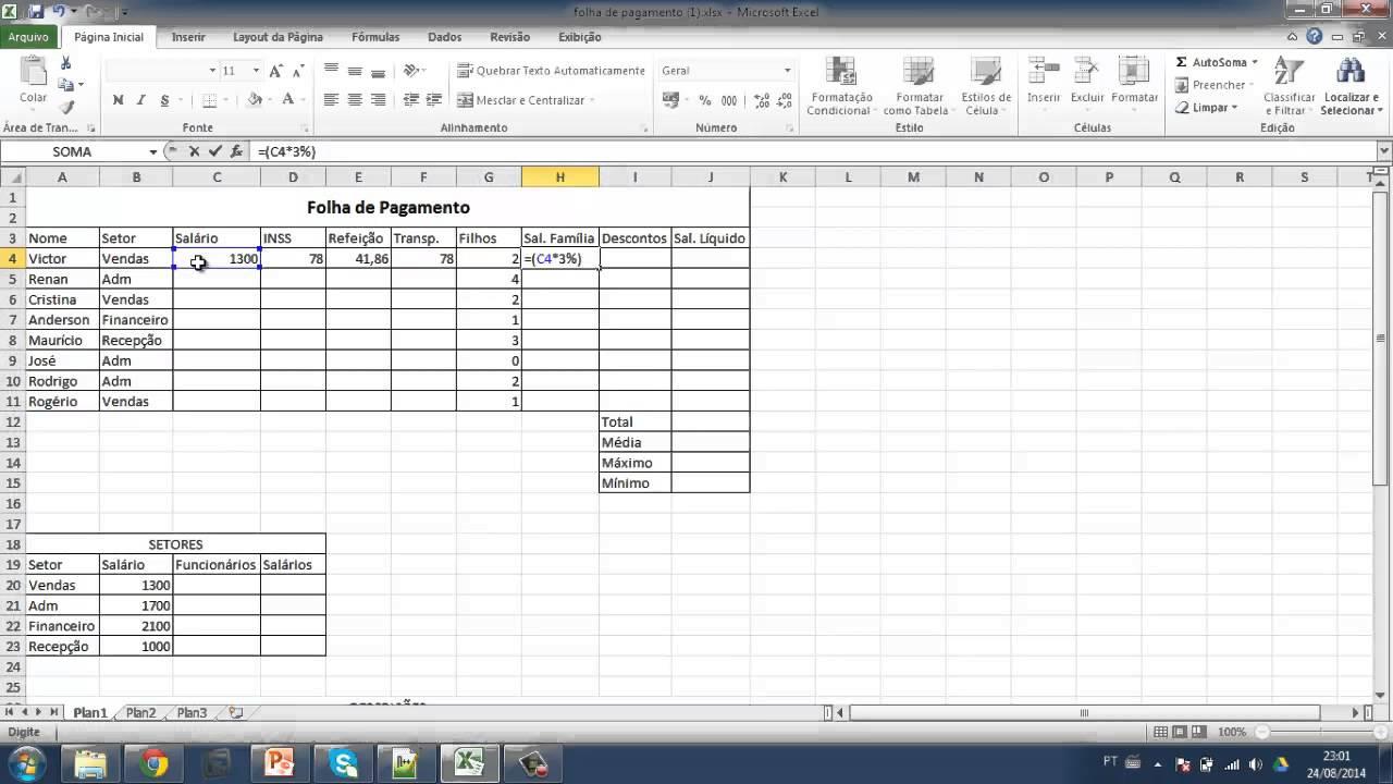 Revisão De Excel Folha De Pagamento Youtube