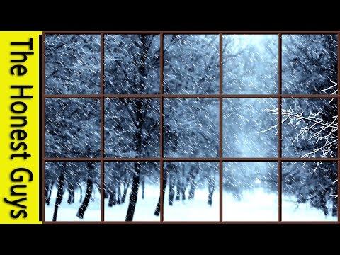 WINTER WINDOW SNOW SCENE - Storm with Wind & Fireplace Sounds