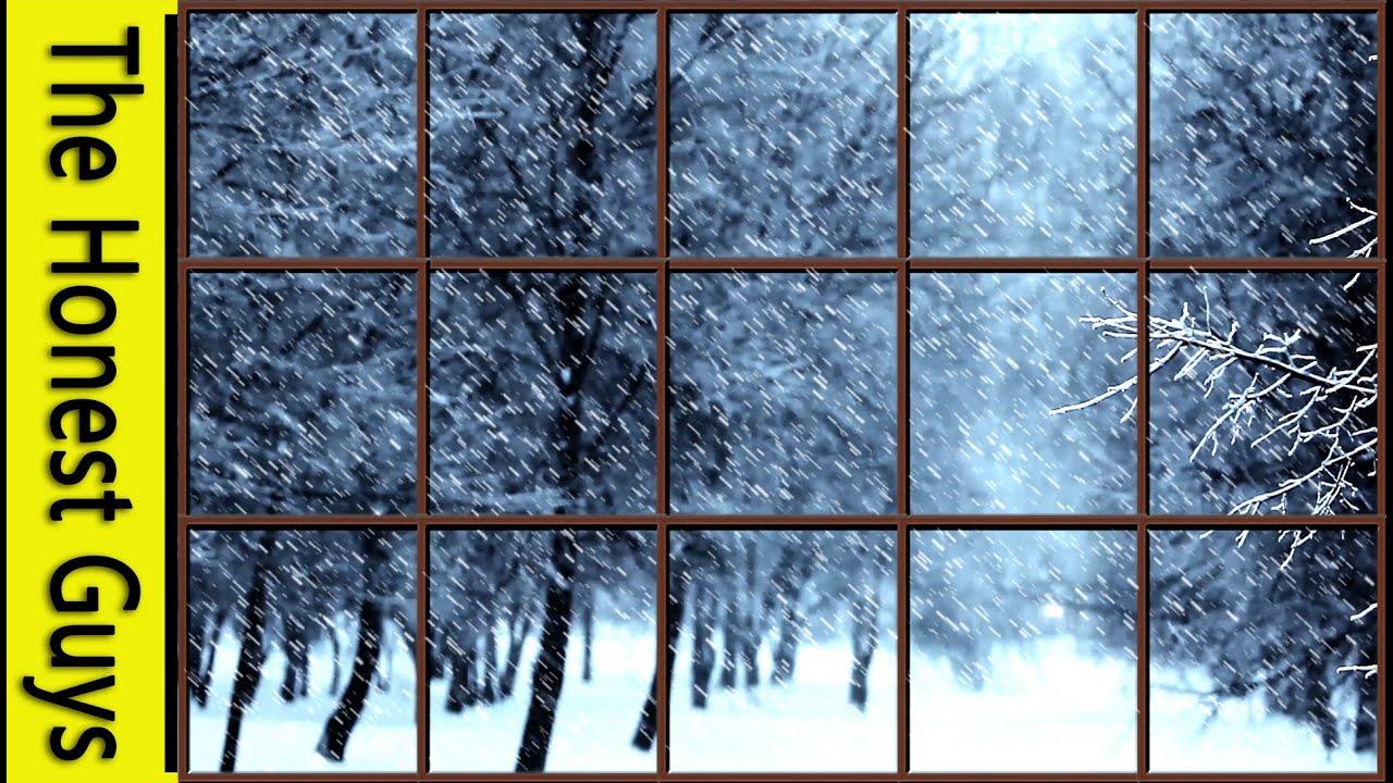 WINTER WINDOW SNOW SCENE - Storm with Wind & Fireplace ...