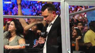 Raw:  The Rock birthday bashes Michael Cole