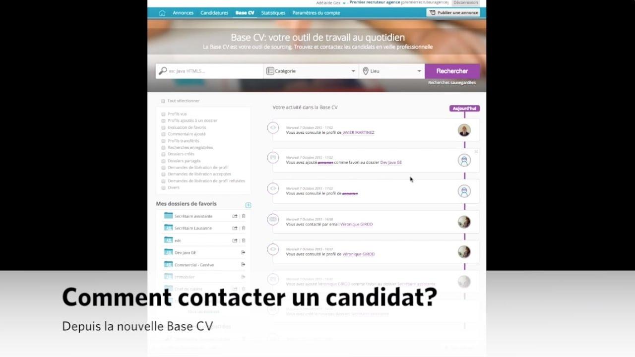 tuto  nouvelle base cv - comment contacter un candidat