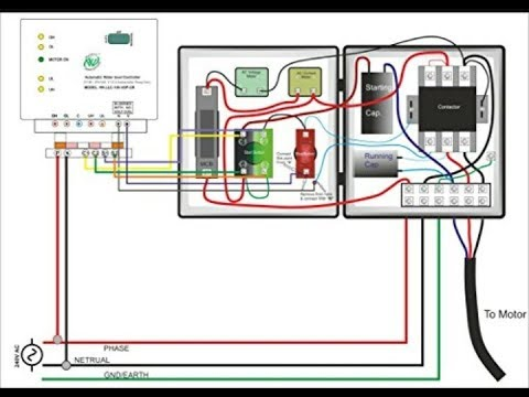 single phase starter wiring diagram turn signal flasher problem submersible circuit great connection with capacitor youtube rh com
