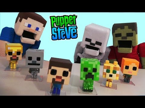 Minecraft Funko Pop Action FIgures Toy unboxing Exclusive Overworld Survival Biome Set Puppet Steve