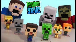 Minecraft Funko Pop Action FIgures Toy unboxing Exclusive Overworld Survival Biome Set Puppet Steve