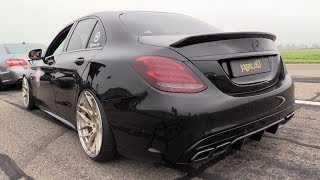 580HP BLACK Mercedes-AMG C63s - REVS & DRAG RACING!